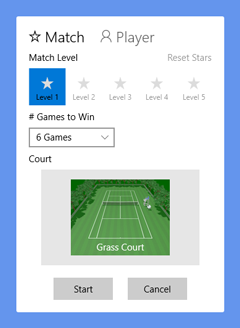Casual Open Tennis: Match starting window